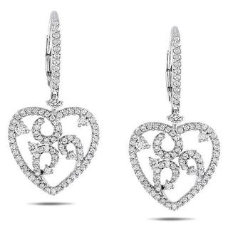Miadora 14k White Gold 1ct TDW Diamond Heart Earrings (G-H, SI1-SI2)