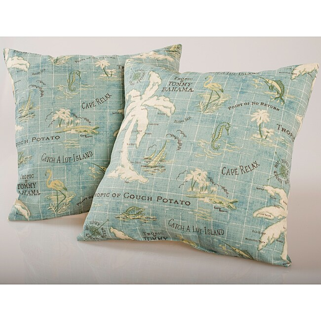 Blue Island Map Outdoor Decorative Pillows (Set of 2)