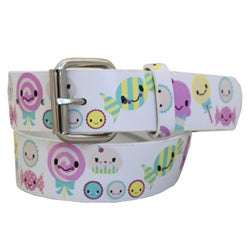 Entourage Women's 'Smiley Happy Face' White Faux Leather Belt