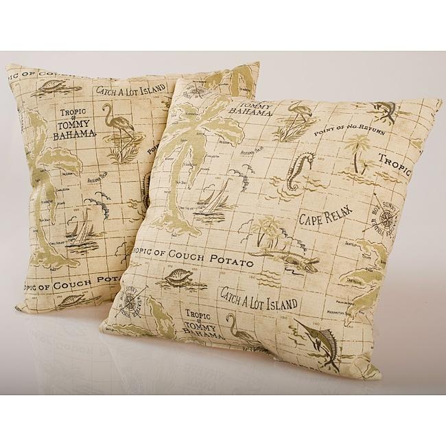 Beige Island Map Outdoor Decorative Pillows (Set of 2)
