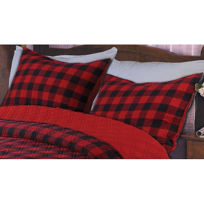 Greenland Home Fashions Western Plaid Red/ Black Quilted Standard-size Shams (Set of 2)