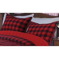 Western Plaid Red/ Black Quilted Standard-size Shams (Set of 2)