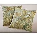Blue Tropical Foliage Outdoor Decorative Pillows (Set of 2)