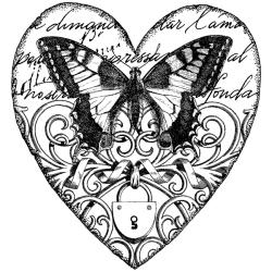Magenta Cling Swallowtail Heart Stamp
