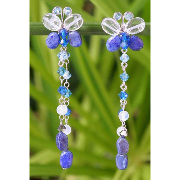 Handmade Sterling Silver 'Song of Summer' Lapis Lazuli Earrings (Thailand) 8253153