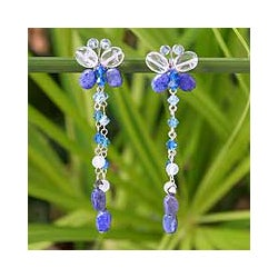 Sterling Silver 'Song of Summer' Lapis Lazuli Earrings (Thailand)