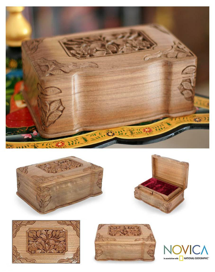Handcrafted Walnut 'Eternal Attraction' Jewelry Box (India)