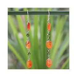 Sterling Silver 'Tangerine Marmalade' Carnelian Drop Earrings (Thailand)