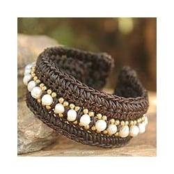 Handcrafted Pearl 'Thai Supreme' Cuff Bracelet (4.5-5 mm) (Thailand)