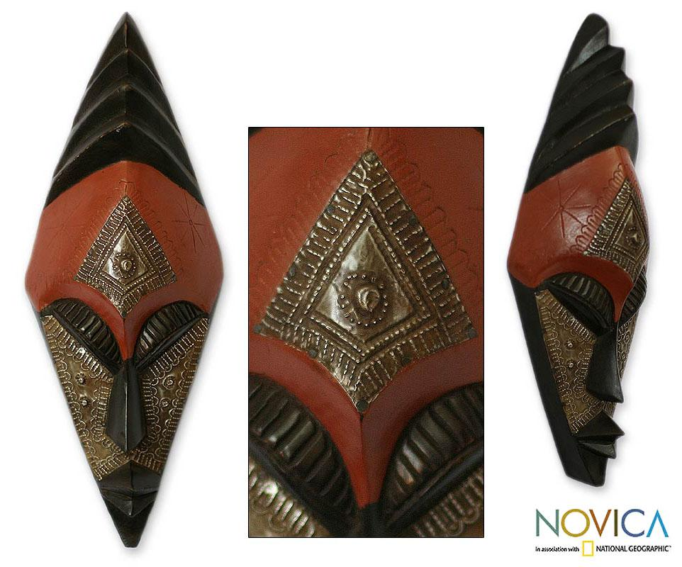 Sese Wood African 'Keeping Order' Mask (Ghana)