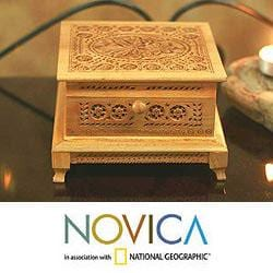 Handcrafted Kadam Wood 'Wilderness' Jewelry Box (India)