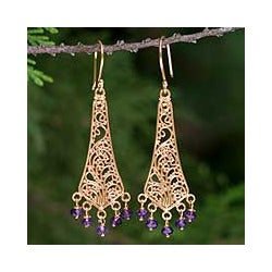 Handcrafted Gold Overlay 'Sublime Thai' Amethyst Earrings (Thailand)