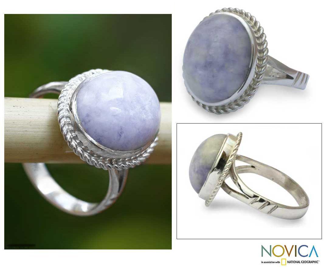 Sterling Silver 'Eternal Love' Lavender Jade Cocktail Ring (Guatemala)