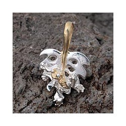 Sterling Silver adn Gold Accent 'Good Luck Frog' Pendant (Mexico)