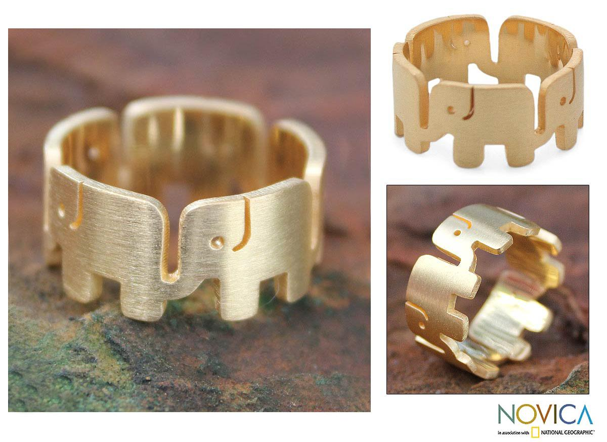 Handcrafted Gold Overlay 'Elephant Pride' Ring (Thailand)