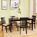 TRIBECCA HOME Wilma Black Mission Back Cushioned 5-piece Dining Set