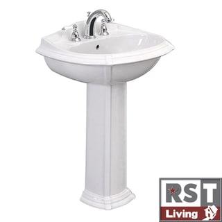 RST Living Icera Vanier White Pedestal Lavatory