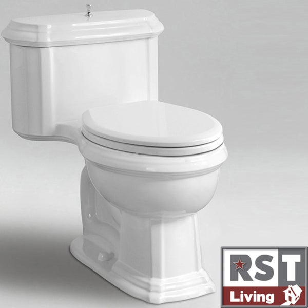 RST Living Icera Vanier Chair-height Elongated White One-piece Toilet