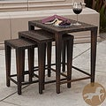 Christopher Knight Home Outdoor Brown Wicker Nested Tables (S