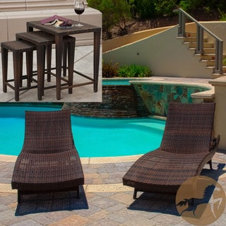 Wicker chaise lounges overstock shopping the best for Belmont 4 piece brown wicker patio chaise lounge set