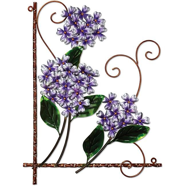 Deco Breeze Metal Purple Hydrangea Wall Decor