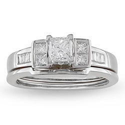 14k Gold 3/4ct TDW Princess 2-Piece Diamond Bridal Ring Set (H-I, I1-I2)