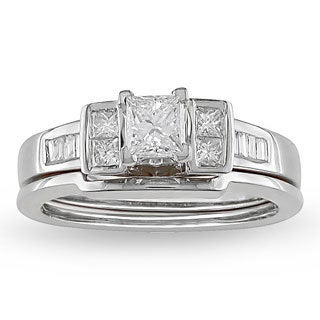 Miadora 14k White Gold 3/4ct TDW Princess Diamond Bridal Set (H-I, I1-I2)