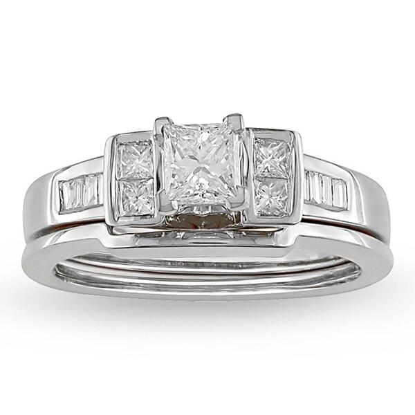 Miadora 14k White Gold 3/4ct TDW Princess Diamond Bridal Set (H-I, I1-I2)