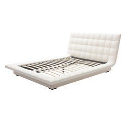 White Faux Leather Quilted Platform Bed-King