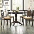 TRIBECCA HOME Wilma Black Window Back Round Pedestal 5-piece Dining Set