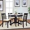 TRIBECCA HOME Wilma Black Window Back Round Pedestal 5-piece Dining Set