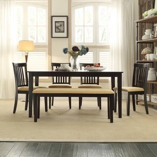 TRIBECCA HOME Wilma Black Mission Back Cushioned 6-piece Dining Set