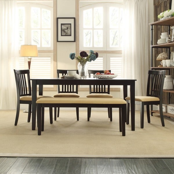 TRIBECCA HOME Wilma Black Mission Back Cushioned Dining Set
