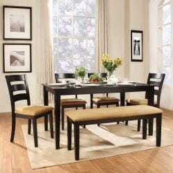 Wilma Black Ladder Back Cushioned 6-piece Dining Set