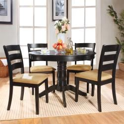 Wilma Black Ladder Back Round Pedestal 5-piece Dining Set