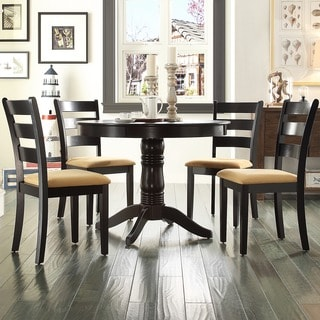 TRIBECCA HOME Wilma Black Ladder Back Round Pedestal 5-piece Dining Set