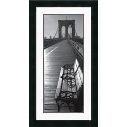 Brooklyn Bridge Benches' Framed Art Print