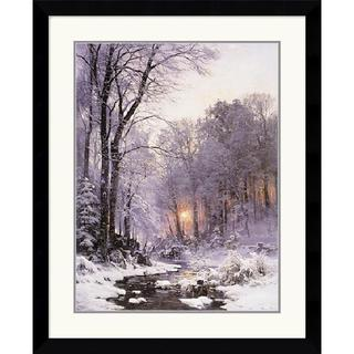Anders Anderson-Lundby 'A Twilit Wooded River in the Snow' Framed Art Print