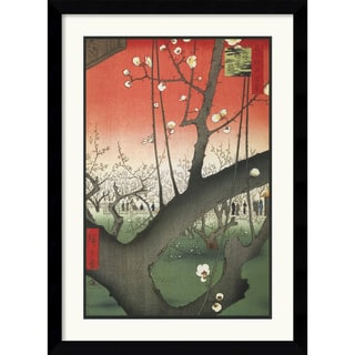 Utagawa Hiroshige 'Plum Garden Over Shin-Ohashi Bridge and Atake' Framed Art Print
