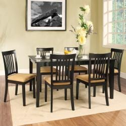 Wilma Black Mission Back Cushioned 7-piece Dining Set