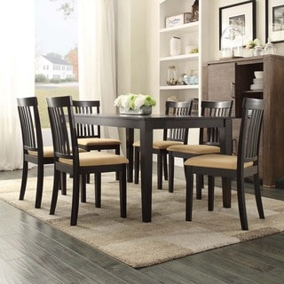 TRIBECCA HOME Wilma Black Mission Back Cushioned 7-piece Dining Set