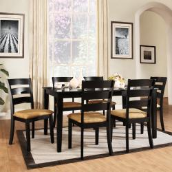 TRIBECCA HOME Wilma Black Ladder Back Cushioned 7-piece Dining Set
