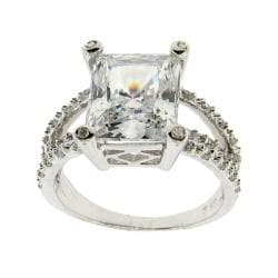 Sterling Silver Clear Emerald-cut Cubic Zirconia Ring