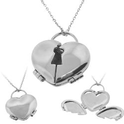Silvertone Hinged Heart Locket Necklace