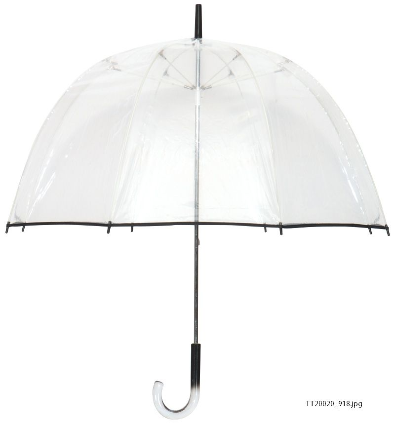 Tina T Bubble Clear/Black POE/Plastic/Fiberglass 48-inch Arc Umbrella