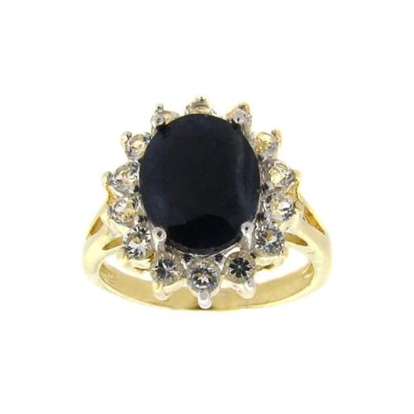 Dolce Giavonna 18k Gold over Silver Sapphire and White Topaz Ring