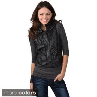 Ci Sono by Journee Juniors Faux Leather Collared Vest