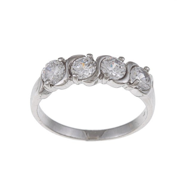 White Gold Overlay Clear Cubic Zirconia Ring