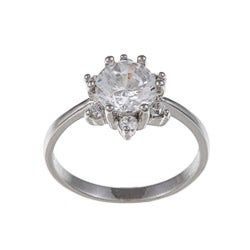 White Gold Overlay Clear Cubic Zirconia Flower Ring