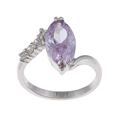 White Gold Overlay Purple and White Cubic Zirconia Cocktail Ring